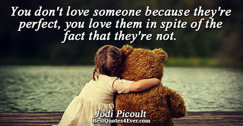 You don't love someone because they're perfect, you love them in spite of the fact that