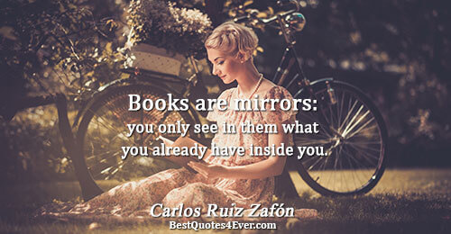 Books are mirrors: you only see in them what you already have inside you.. Carlos Ruiz