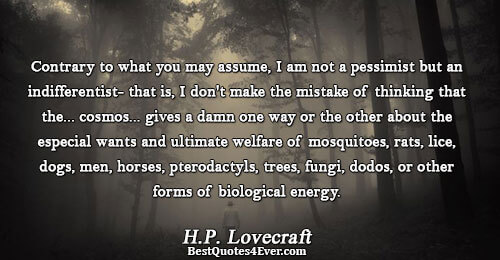 Contrary to what you may assume, I am not a pessimist but an indifferentist- that is,