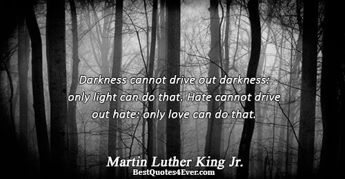Darkness cannot drive out darkness: only light can do that. Hate cannot drive out hate: only