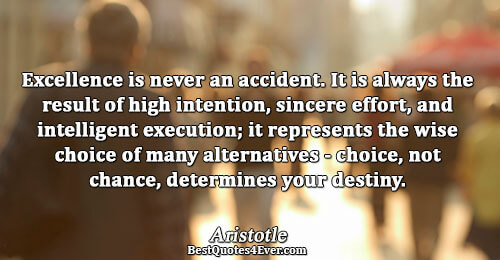 Excellence is never an accident. It is always the result of high intention, sincere effort, and