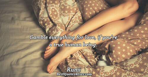 Gamble everything for love, if you're a true human being.. Rumi Best Life Quotes