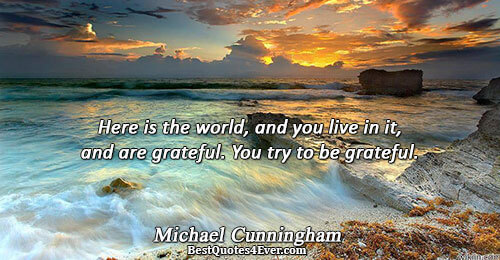 Here is the world, and you live in it, and are grateful. You try to be