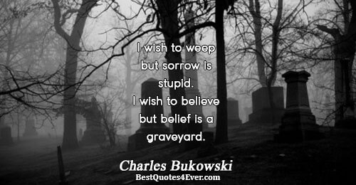 I wish to weep but sorrow is stupid. I wish to believe but belief is a