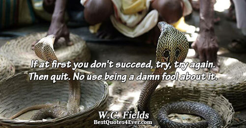 If at first you don't succeed, try, try again. Then quit. No use being a damn