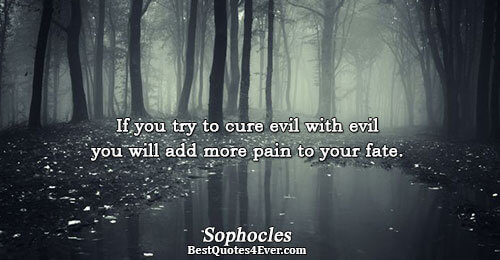 If you try to cure evil with evil you will add more pain to your fate..