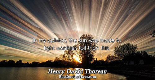 In my opinion, the sun was made to light worthier toil than this.. Henry David Thoreau