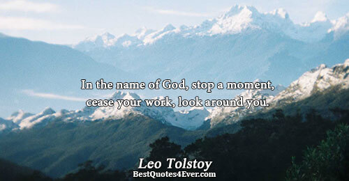 In the name of God, stop a moment, cease your work, look around you.. Leo Tolstoy