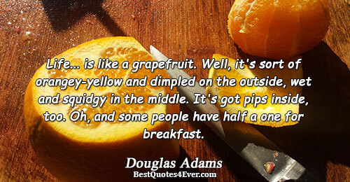 Life... is like a grapefruit. Well, it's sort of orangey-yellow and dimpled on the outside, wet