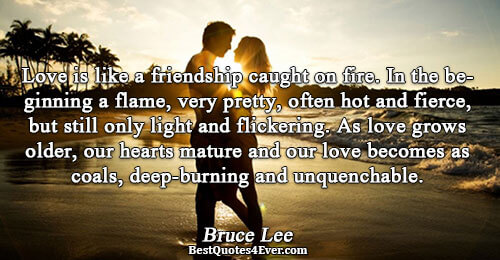 Love is like a friendship caught on fire. In the beginning a flame, very pretty, often