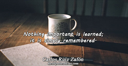 Nothing important is learned; it is simply remembered.. Carlos Ruiz Zafón Famous Philosophy Quotes