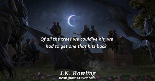 Of all the trees we could've hit, we had to get one that hits back.. J.K.