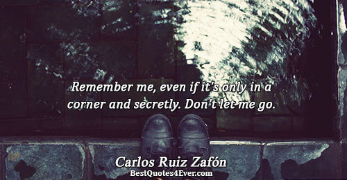 Remember me, even if it's only in a corner and secretly. Don't let me go.. Carlos