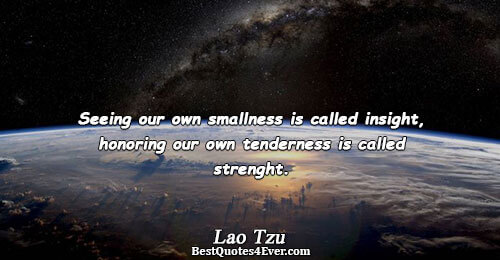 Seeing our own smallness is called insight, honoring our own tenderness is called strenght.. Lao Tzu