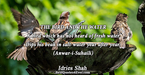 THE BIRD AND THE WATER A bird which has not heard of fresh water Dips his