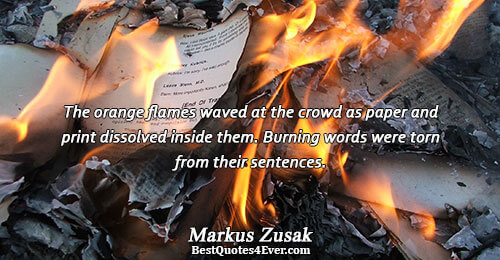 The orange flames waved at the crowd as paper and print dissolved inside them. Burning words