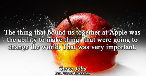 The thing that bound us together at Apple was the ability to make things that were