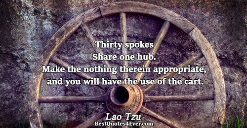 Thirty spokes Share one hub. Make the nothing therein appropriate, and you will have the use