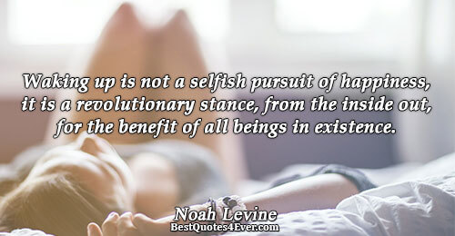 Waking up is not a selfish pursuit of happiness, it is a revolutionary stance, from the