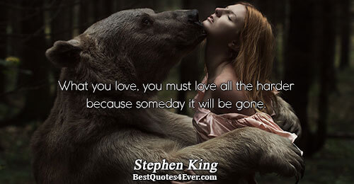 What you love, you must love all the harder because someday it will be gone.. Stephen