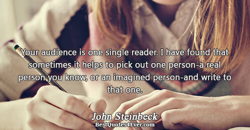 Your audience is one single reader. I have found that sometimes it helps to pick out